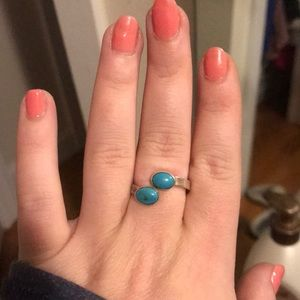 Handmade ring, turquoise stones sterling